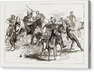 Polo Burlesqued, The Volunteer Camp At Wimbledon Uk 1873 Canvas Print