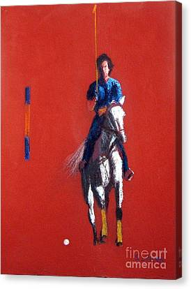 Polo Player Canvas Print by Sandy Linden