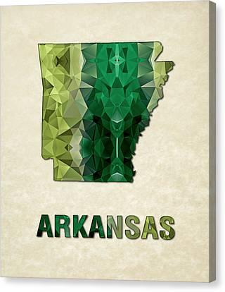 Polygon Mosaic Parchment Map Arkansas Canvas Print by Elaine Plesser