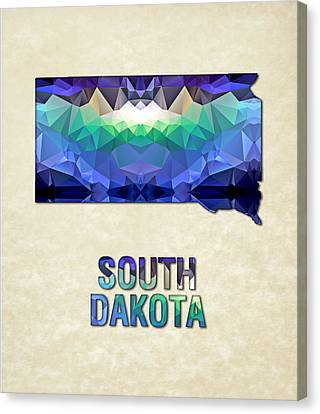 Polygon Mosaic Parchment Map South Dakota Canvas Print