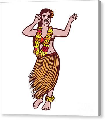 Polynesian Dancer Grass Skirt Linocut Canvas Print by Aloysius Patrimonio
