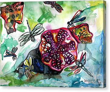 Pomegranate And Dragonflies Canvas Print by Genevieve Esson