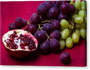 Pomegranate And Green And Red Grapes Canvas Print by Alexander Senin