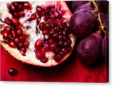 Pomegranate And Red Grapes Canvas Print by Alexander Senin