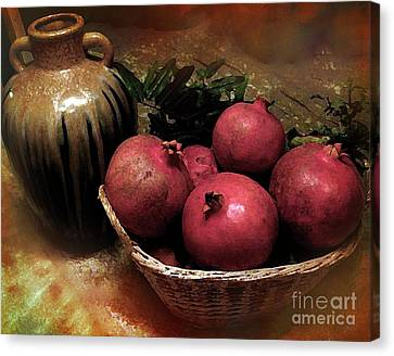 Pomegranate Basket And Clay Jar Canvas Print by Bedros Awak