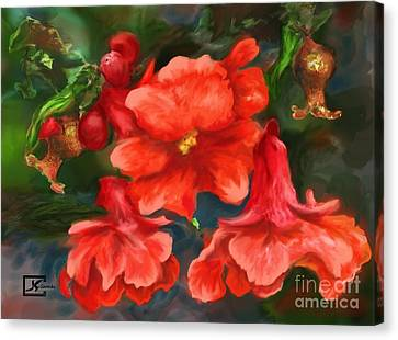 Pomegranate Blooms Floral Painting Canvas Print by Judy Filarecki