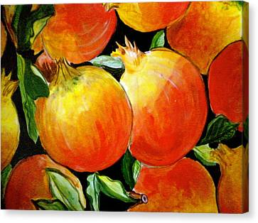 Pomegranate Canvas Print by Debi Starr