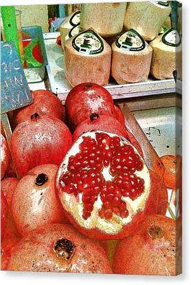Pomegranates In Open Market Canvas Print