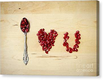 Pomegranate Typography I Love U Canvas Print by Ivy Ho