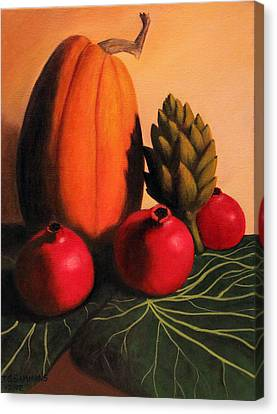 Canvas Print featuring the painting Pomegranates On Cabbage Leaves by Janet Greer Sammons