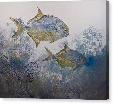 Gyotaku Canvas Print - Pompano And Sea Fans by Nancy Gorr