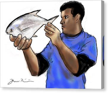 Canvas Print featuring the painting Pompano Catch Of The Day by Jean Pacheco Ravinski