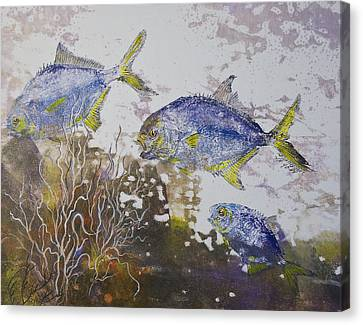 Gyotaku Canvas Print - Pompano Trio by Nancy Gorr