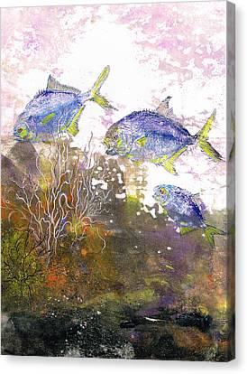 Pompano Trio_verticle Canvas Print by Nancy Gorr