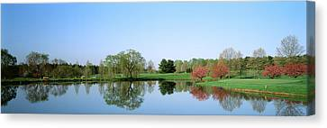Pond At A Golf Course, Towson Golf And Canvas Print