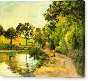 Pond At Montfoucault Canvas Print by Camille Pissarro