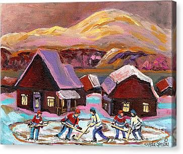 Pond Hockey Cozy Winter Scene Canvas Print by Carole Spandau