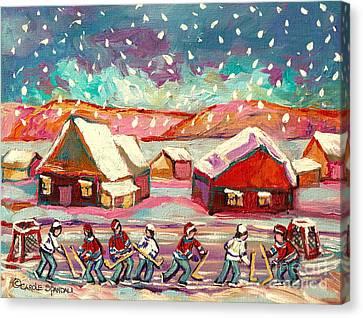 Pond Hockey Game 3 Canvas Print by Carole Spandau