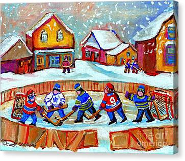 Pond Hockey Game Canvas Print by Carole Spandau