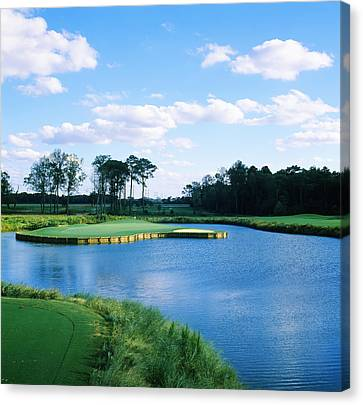 Pond In A Golf Course, Carolina Golf Canvas Print by Panoramic Images