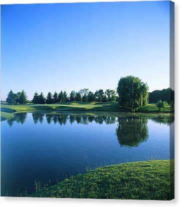 Reflection Harvest Canvas Print - Pond In A Golf Course, Rich Harvest by Panoramic Images