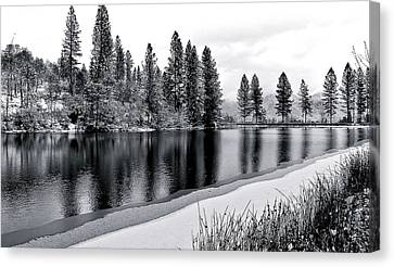 Canvas Print featuring the photograph Pond In Snow by Julia Hassett