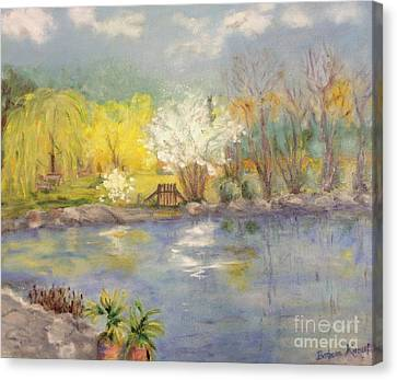 Pond In Ulm Germany In Spring Canvas Print by Barbara Anna Knauf