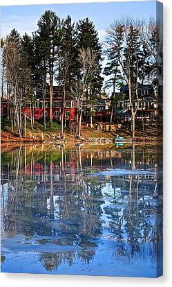 Pond Of Ice And Trees Canvas Print by Frozen in Time Fine Art Photography