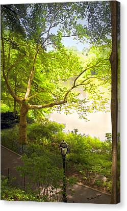 Lamp Post Canvas Print - Pond View - Central Park - Nyc by Madeline Ellis
