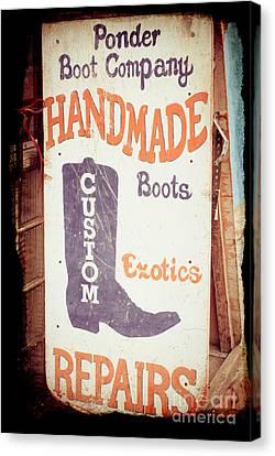Ponder Handmade Boots Canvas Print by Sonja Quintero