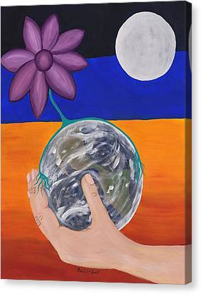 Man In The Moon Canvas Print - Pondering Creation Hand And Globe by Barbara St Jean