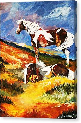 Canvas Print featuring the painting Ponies At Sunset by Al Brown