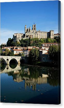 Pont Vieux Bridge Over River Orb Canvas Print by Panoramic Images