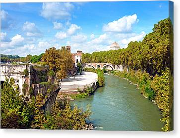 Historic Architecture Canvas Print - Ponte Emilio Today Called Ponte Rotto by Nico Tondini
