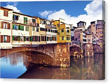 Ponte Vecchio And Arno River, Florence Canvas Print by Miva Stock