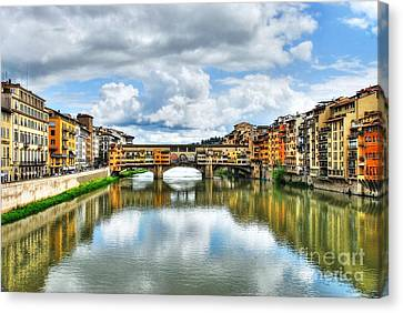 Ponte Vecchio At Florence Italy 2 Canvas Print by Mel Steinhauer