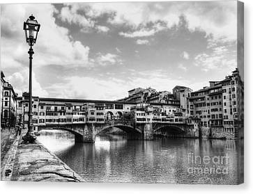 Ponte Vecchio At Florence Italy Bw Canvas Print by Mel Steinhauer