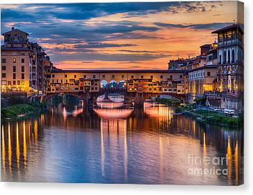Ponte Vecchio At Sunset Canvas Print