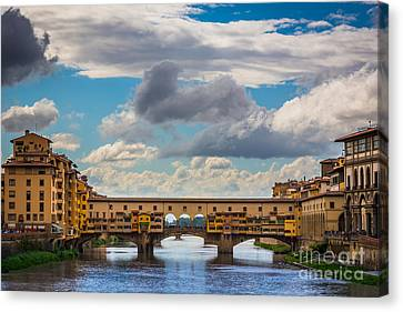 Italian Street Canvas Print - Ponte Vecchio Clouds by Inge Johnsson
