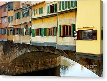Ponte Vecchio Detail In Florence Italy Canvas Print by Kiril Stanchev