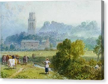 Pontefact Castle Yokshire Canvas Print by Myles Birket Foster