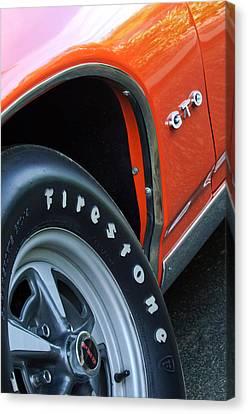 1969 Pontiac Gto Judge Coupe Tire Emblem Canvas Print by Jill Reger