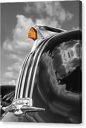 Pontiac Hood Ornament Black And White With Highlight Canvas Print by Gill Billington