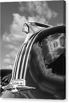Pontiac Indian Hood Ornament Black And White Canvas Print by Gill Billington