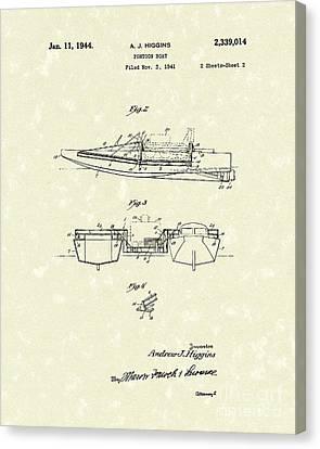 Pontoon Boat 1944 Patent Art Canvas Print by Prior Art Design