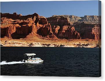 Pontoon Boat On Lake Powell, Glen Canvas Print by Michel Hersen