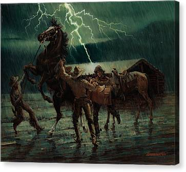 Pony Express In Rain Canvas Print by Don  Langeneckert