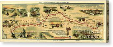 Pony Express Map William Henry Jackson Canvas Print by William Henry Jackson