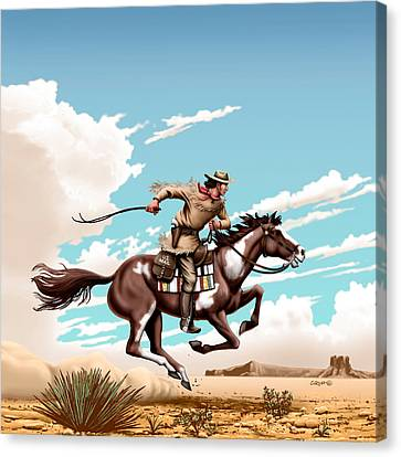 Pony Express Rider - Western Americana - Square Format Canvas Print by Walt Curlee