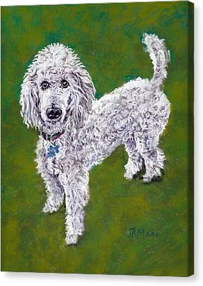 Canvas Print featuring the pastel Poodle Pal by Julie Maas